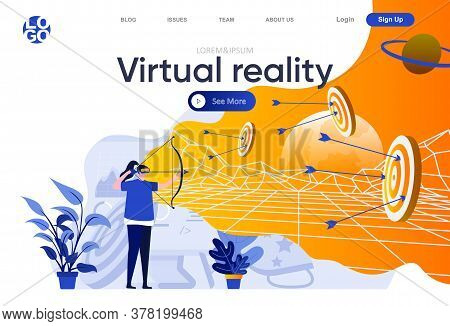 Virtual Reality Flat Landing Page. Woman Archer With Virtual Reality Headset And Bow Playing Game In