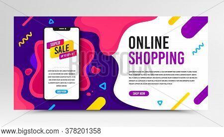 Super Sale Badge. Phone Screen Mockup Fluid Banner. Discount Banner Shape. Coupon Bubble Icon. Socia