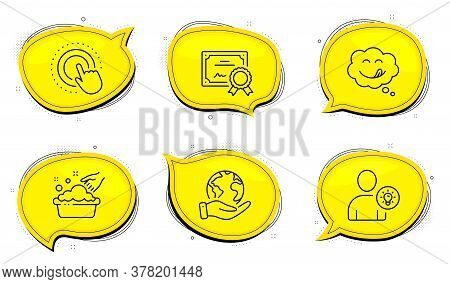 Click Hand Sign. Diploma Certificate, Save Planet Chat Bubbles. Yummy Smile, User Idea And Hand Wash
