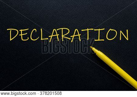Declaration Yellow Pen With Yellow Text Own Rent At The Black Background