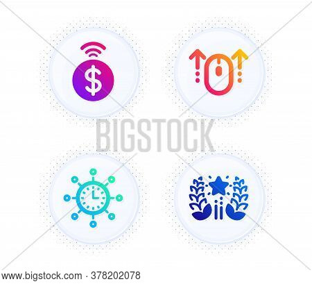 Swipe Up, Contactless Payment And World Time Icons Simple Set. Button With Halftone Dots. Ranking Si