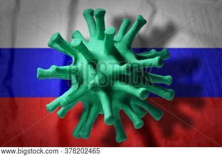 Coronavirus Cell On The Russian Flag Background