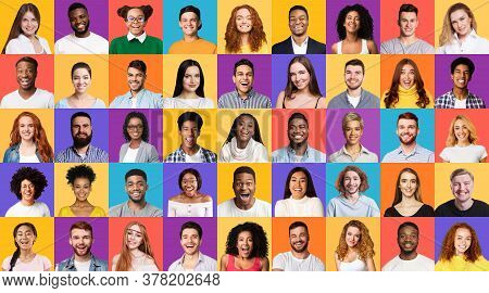 Diversity. Set Of Mixed Race People Portraits Smiling To Camera On Different Colorful Backgrounds. P