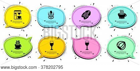 Gluten Free, Hazelnut And Wineglass Signs. Chat Bubbles With Quotes. Coffee Maker, Coffee Cup And Pe