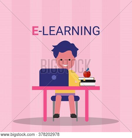 E-learning. Boy At Laptop Learning Doing Online Homework Sitting At Desk Over Pink Background. Vecto