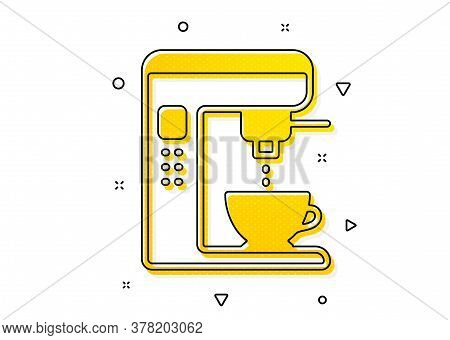 Vending Machine Sign. Coffee Maker Icon. Make Tea Symbol. Yellow Circles Pattern. Classic Coffee Mak