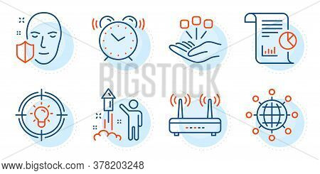 Report, Wifi And Idea Signs. Alarm Clock, Fireworks And Consolidation Line Icons Set. International
