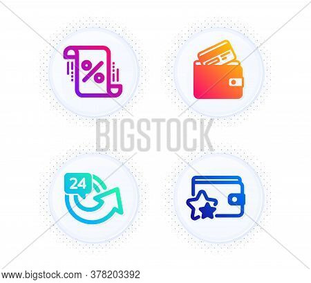 Loan Percent, 24 Hours And Debit Card Icons Simple Set. Button With Halftone Dots. Loyalty Program S