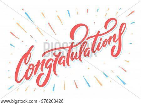 Congratulations Banner. Vector Lettering. Vector Hand Drawn Illustration.