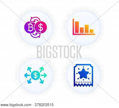 Histogram, Dollar Exchange And Bitcoin Exchange Icons Simple Set. Button With Halftone Dots. Loyalty