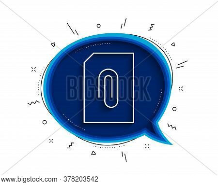 Attach Document Line Icon. Chat Bubble With Shadow. Information File Sign. Paper Page Concept Symbol