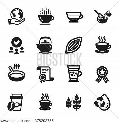 Set Of Food And Drink Icons, Such As Cocoa Nut, Takeaway Coffee. Certificate, Approved Group, Save P