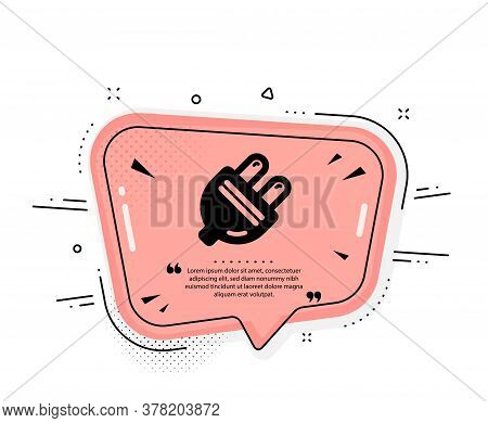 Electric Plug Icon. Quote Speech Bubble. Energy Sign. Electricity Power Symbol. Quotation Marks. Cla