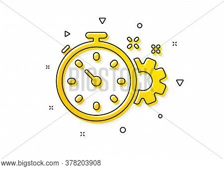 Engineering Tool Sign. Cogwheel With Timer Icon. Cog Gear Symbol. Yellow Circles Pattern. Classic Co