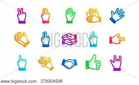 Handshake, Clapping Hands, Victory. Hand Gestures Icons. Horns, Thumb Up Finger, Drag And Drop Icons