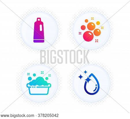 Clean Bubbles, Shampoo And Hand Washing Icons Simple Set. Button With Halftone Dots. Water Drop Sign