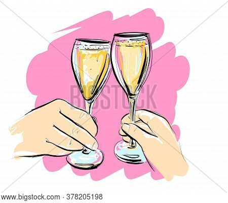 Illustration, Vector. Two Glasses Of Champagne. A Couple Clink Glasses Of Wine. On A Pink Background