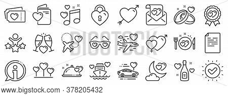 Wedding Car, Marriage Rings, Love. Honeymoon Line Icons. Bridal Champagne, Valentine Heart Icons. Co