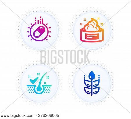 Capsule Pill, Skin Cream And Anti-dandruff Flakes Icons Simple Set. Button With Halftone Dots. Glute