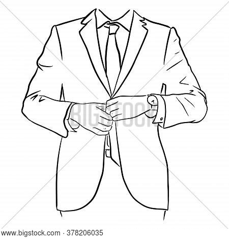 Outline Sketch Of A Businessman With Tie And Watch Buttoning His Jacket. Vector Illustration