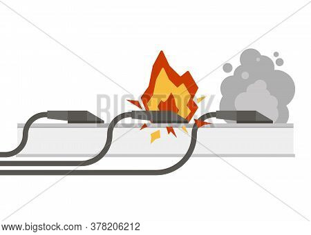 Fire Wiring. Electric Circuit Of Cable With Fire, Smoke, Sparks. Set Of Sockets With Cords. Socket A