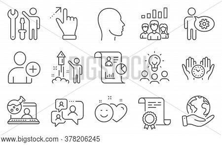 Set Of People Icons, Such As Add User, Touchscreen Gesture. Diploma, Ideas, Save Planet. Safe Time,