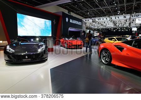 Dubai, Uae - November 16: The Ferrari F8 Tributo, Gtc4lussot, Portofino Sportscars Are On Dubai Moto