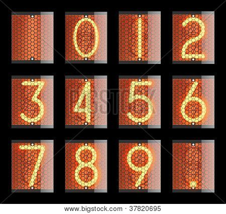 Nixie tube indicator. The number of retro, Transparency guaranteed. Vector illustration. poster