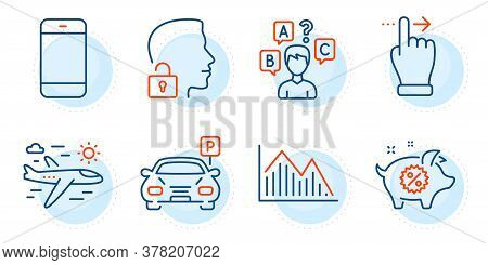 Smartphone, Quiz Test And Unlock System Signs. Piggy Sale, Airplane Travel And Parking Line Icons Se