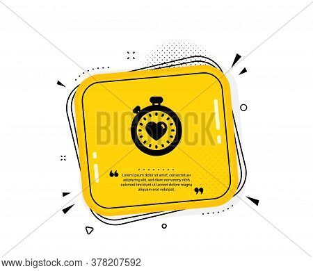 Heart In Timer Icon. Quote Speech Bubble. Love Symbol. Valentines Day Stopwatch Sign. Quotation Mark