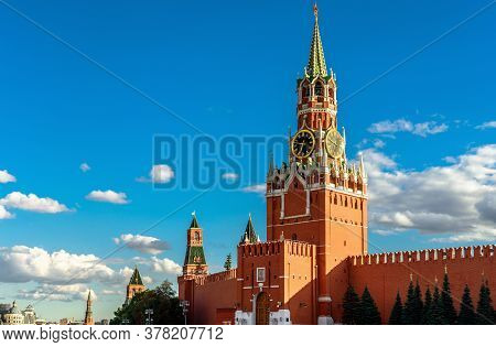 Moscow Kremlin On Old Red Square In Summer, Moscow, Russia. Is Is Famous Tourist Attraction Of Mosco