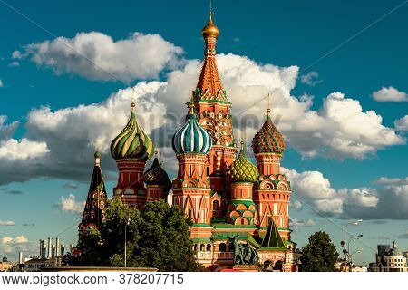 St Basil`s Cathedral On Red Square In Sunset Light, Moscow, Russia. Old Saint Basil`s Temple Is Famo