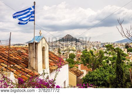 Skyline Of Athens, Scenic View From Anafiotika In Plaka District, Greece. Plaka Is Famous Tourist At