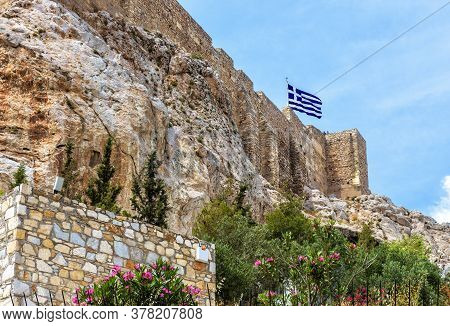 Acropolis With Strong Medieval Fortress Walls, Athens, Greece. Famous Acropolis Hill Is Top Landmark