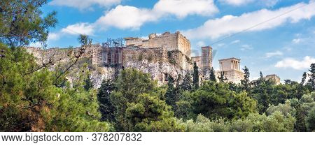 Acropolis With Ancient Greek Ruins, Athens, Greece. It Is Top Landmark Of Athens. Panoramic Scenic V