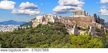 Landscape Of Athens With Acropolis Hill, Greece. It Is Top Landmark Of Athens. Panoramic Scenic View