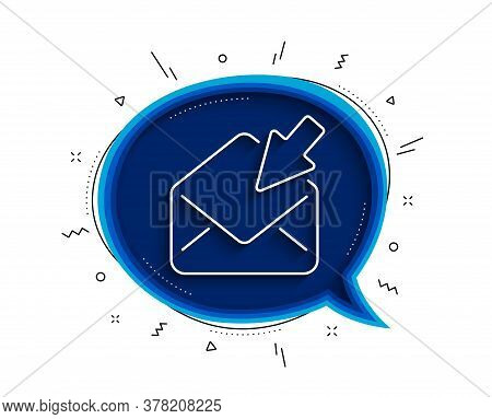Open Mail Line Icon. Chat Bubble With Shadow. View Message Correspondence Sign. E-mail Symbol. Thin