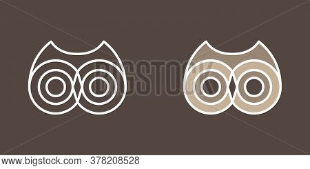 Wise Owl. Icon Set. Outline And Color Image. Symbol Or Emlem Of Wild Animal