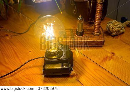 Light Fixture Handmade In Vintage Style, Retro Film Slr Camera Case