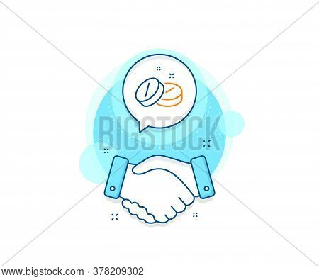 Medicine Drugs Sign. Handshake Deal Complex Icon. Medical Tablet Line Icon. Pharmacy Medication Symb