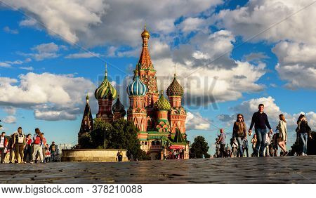 Moscow - July 23, 2020: Old St Basil`s Cathedral On Red Square In Moscow, Russia. Ancient Saint Basi