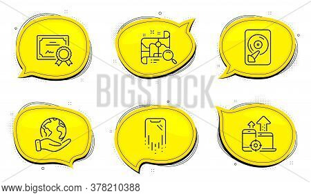 Hdd Sign. Diploma Certificate, Save Planet Chat Bubbles. Search Map, Seo Devices And Smartphone Reco
