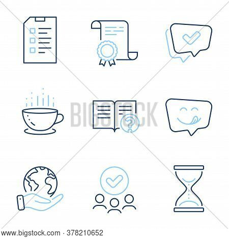 Help, Yummy Smile And Checklist Line Icons Set. Diploma Certificate, Save Planet, Group Of People. A