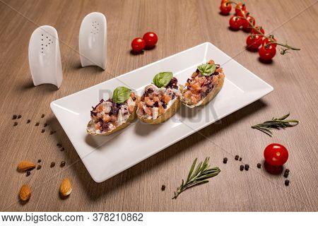 Bruschetta With Feta, Tomatoes, Kalamata Olives Dried Rye Baguette, Cream Cheese, Feta Cheese, Basil