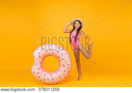Lets Have Fun. Swimming Pool At Vacation. Donut Pool Party. Completely Happy. Child With Inflatable