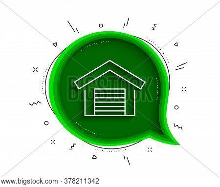 Parking Garage Line Icon. Chat Bubble With Shadow. Auto Park Sign. Car Place Symbol. Thin Line Parki