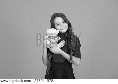 Lovely Child. Childhood Concept. Lovely Small Girl Smiling Happy Face Hold Toy. Happy Childhood. Ima