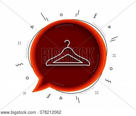 Cloakroom Line Icon. Chat Bubble With Shadow. Hanger Wardrobe Sign. Clothes Service Symbol. Thin Lin