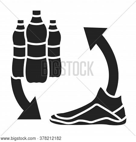 Recycled Shoes Black Line Icon. Shoes Are Made With Recycled Plastic Bottles. Pictogram For Web Page