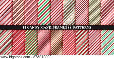 Candy Cane Stripe Seamless Pattern. Christmas Texture. Vector Illustration.